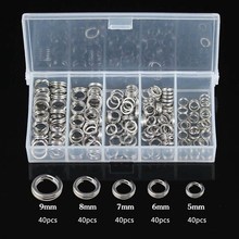 200PCs Connecting Fishing Rings Sets Stainless Steel Split Rings Hard Bait Lure Accessories Tackle High Strengthen O ring