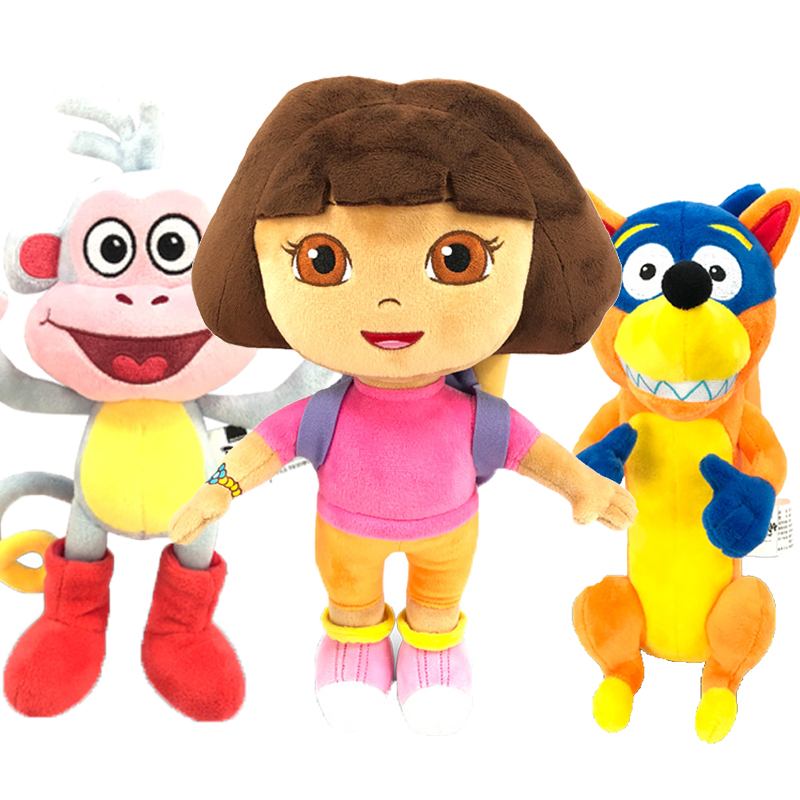 Genuine 15-30cm Dora The Explorer Plush Toy Cute Adventurous Dora Boots Swiper Tico Isa Kids Birthday Doll Toy For Children Girl