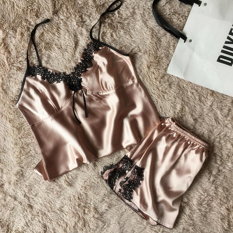 Mode Zomer 2 Stuks Dames Sexy Satijn Zijde Nachtkleding Babydoll Lingerie Nachthemd Pyjama Pak