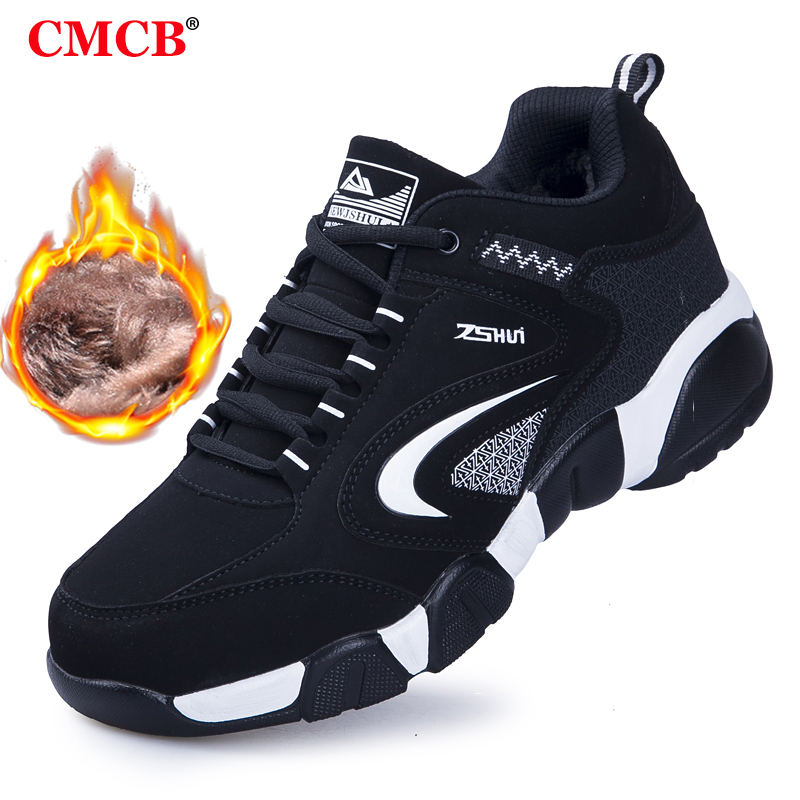 Men's Winter Shoes Sneakers Boots Outdoor Men's Sports Shoes Leather Work Shoes Men's Warm Plus Velvet Travel  Casual Women