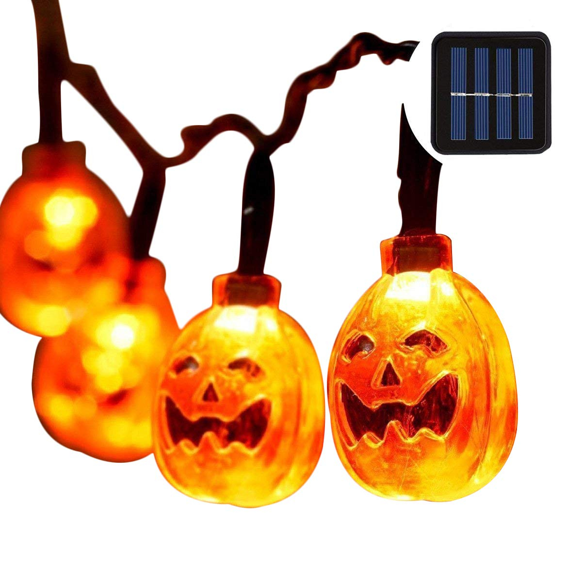 Binval Halloween Pumpkin String Lights 20/30/50LED Solar Powered Outdoor Waterproof Light for Home Patio Garden Yard