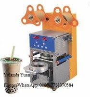 Fabrika fiyat ev kullanımı bardak yapıştırma makinesi ticari profesyonel meyve suyu fincanı konteyner plastik yapıştırma makinesi