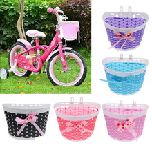 Bike Bicycle Scooter Front Basket Shopping Stabilizers Front Handlebar Carrier Knitted Bow Knot For Children Kids Girls(China)
