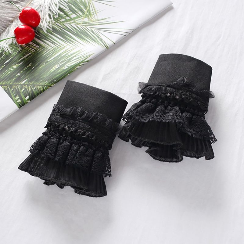 European Style Women Tiered Ruffles Lace Horn Cuffs Wrinkled Layered Princess Vintage White Decorative Fake Sleeves Wrist Warmer