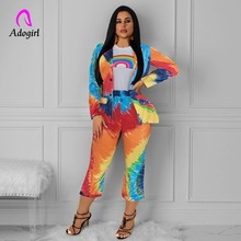 Adogirl Rainbow Color Notched Neck Blazer and Ankle Pants 2 Piece Set Women Autumn Elegant Office Ladies Outfits Two
