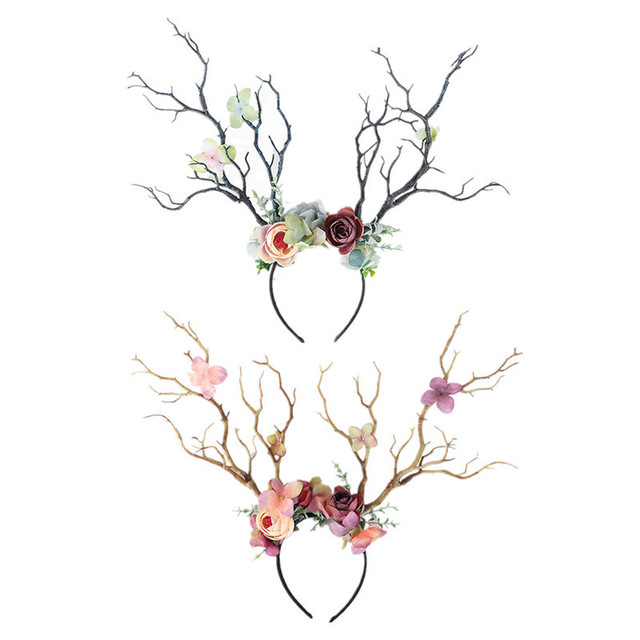 Christmas Headband Antlers Deer Horns Fairy Tale Flower Tree Branch Retro Hair Hoop Crown Festival Party Props Xmas Costume