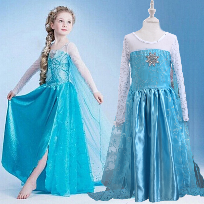 2020 New Girl Elsa Frozen 2 Princess Dress Children Kid Fantasy Party And Wedding Costume Cold Heart 2 Dresses Clothes For Girls