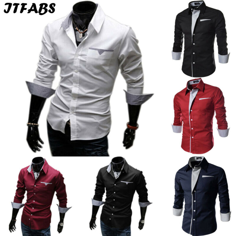Fashion Mens Luxury Slim Fit Shirts Button Down Casual Long Sleeve Business Solid Tops High Quality Male Stylish Formal Shirts