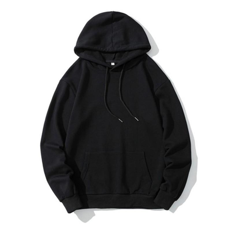 Men Pocket Hoodies Autumn Winter Solid Color Casual Hooded Sweatshirts Unisex Hip Hop Long Sleeve Street Sports Pullover Hoodies
