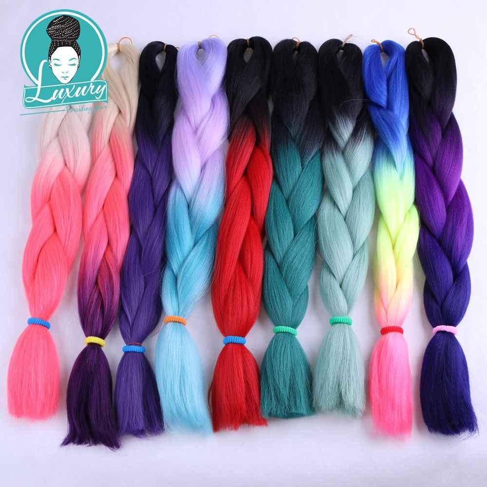 Luxus Für Flechten Haar (80 gramm einzigen farbe) 1 stücke 100g 100 Farben Ombre Synthetische Häkeln Jumbo Zöpfe Haar Stile