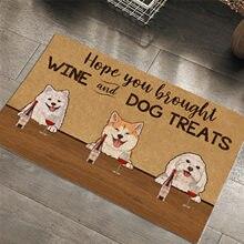 Perro de dibujos animados alfombra divertida Carta-Espero que hayas traído vino y trata de perro-40*60cm Bienvenido Felpudo rectángulo tapete para piso de uso interior hogar