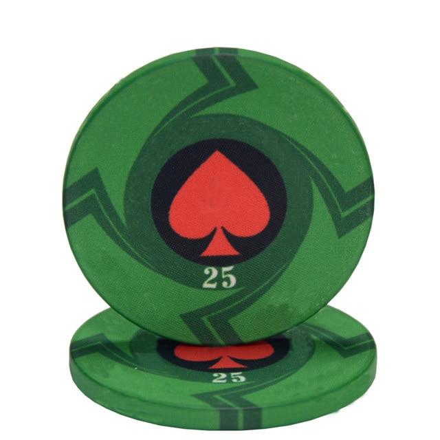 25 pièces/lot en céramique Texas jetons de Poker professionnel Casino européen jetons ensemble 39*3.3mm 10g 4