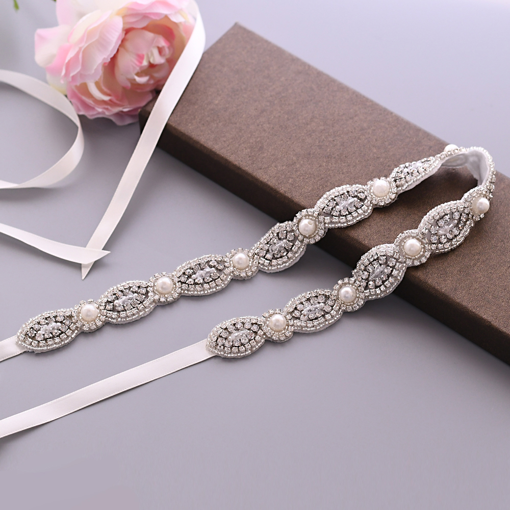TRiXY S435 Exquisite Long Rhinestone Bridal Belts Waist Belts Designer Belts Women Belts Vintage Belts For Wedding Dresses Belt