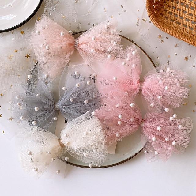 2020 New Korean Sweet Girl Beautiful Colorful Imitation Pearl Yarn Bow Duckbill Clip Children Fashion Hairpins Hair Accessories 1
