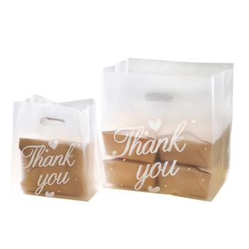 50 sztuk dziękuję plastikowe torby na zakupy prezent torby z rączką boże narodzenie torebka na ślub cukierki ciasto torby do pakowania worek do pakowania tanie i dobre opinie CN (pochodzenie) 50pcs Z tworzywa sztucznego litera Packaging Bag Ślub i Zaręczyny Chrzest chrzciny Wielkie wydarzenie