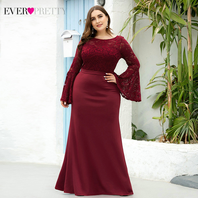 Plus Size Lace Evening Dresses Long Ever Pretty EP00914BD Mermaid O-Neck Flare Sleeve See-Through Formal Dresses For Party 2020