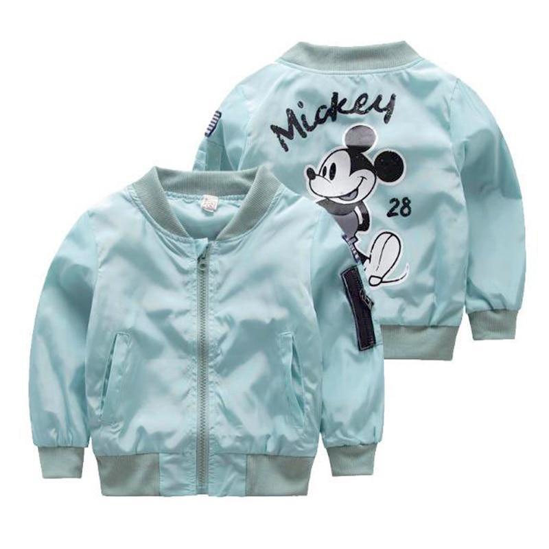 Куртка с Микки Маусом для мальчиков и девочек, Весенняя ветровка с мультяшным принтом, детская верхняя одежда, 2019