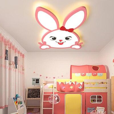 Lampe pour enfants chambre lampe moderne minimaliste fille chambre lustre créatif dessin animé lapin lampe à LED plafond lustre éclairage
