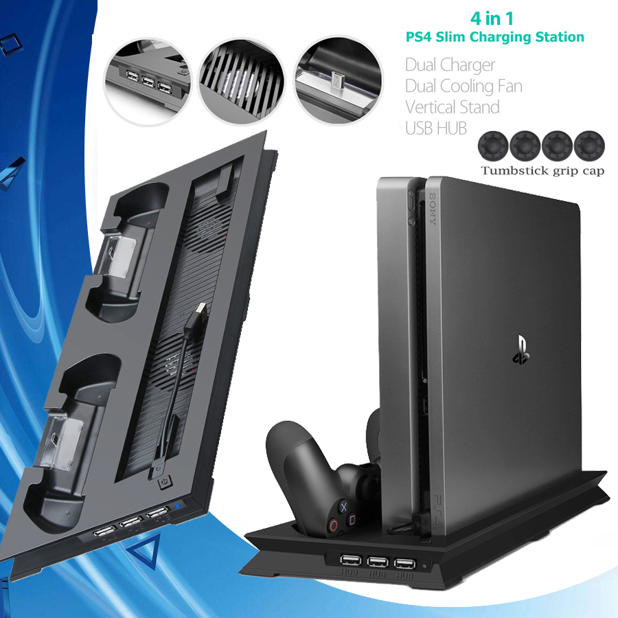 PS4 Slim Game Console Cooling Stand Move Controller Charger Charging Dock Station Cooler With 3 Extra USB HUB For Playstation 4