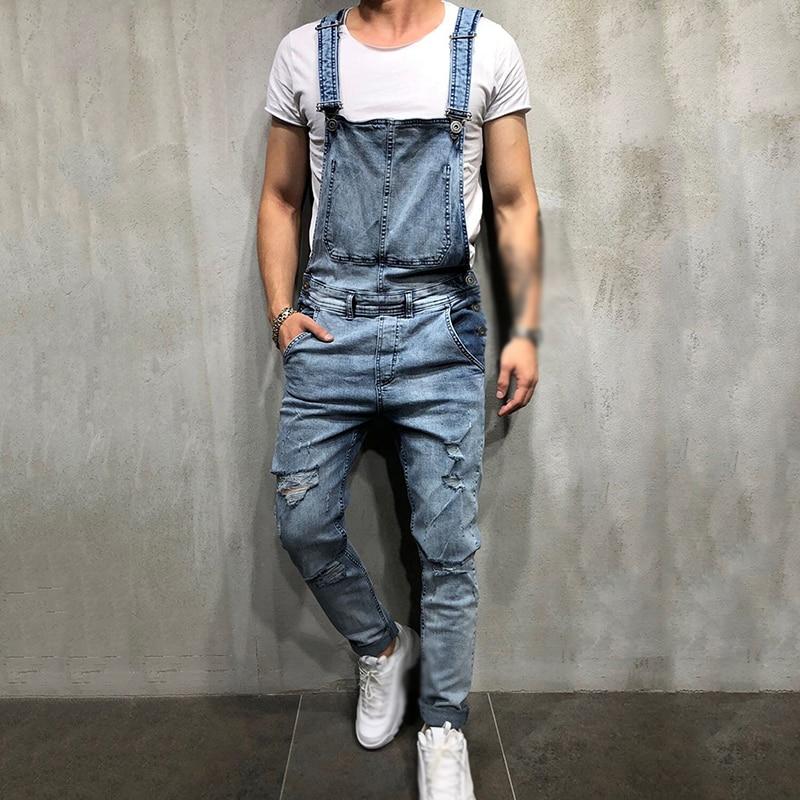 Men's Casual Jeans Pants Casual Straps Mid-waist Jumpsuit Hot Retro Men's Bib Pants High Quality Mens Wild Trousers Plus Size