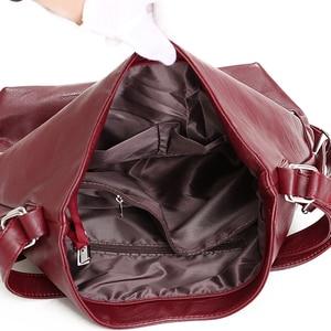 Image 5 - Женские кожаные сумки 3 в 1, высококачественные модные сумки через плечо, винтажные повседневные сумки тоут, женские дизайнерские сумки мессенджер