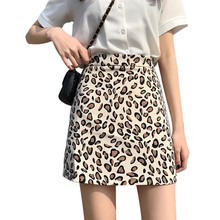 Evening Party Nightclub Chic Sexy Women Leopard Print High Waist A-Line Mini Skirt Above Knee Casual  Empire Waistline