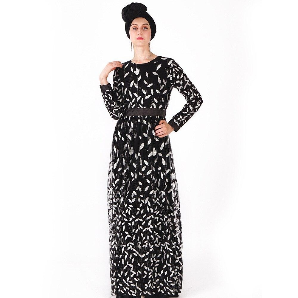Мусульманское Новое Женское платье с длинными рукавами платье Модный чехол для телефона листья блесток дамы длиной до щиколотки юбки - Цвет: Черный