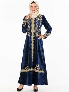 Image 2 - אלגנטי קטיפה שמלה מוסלמית נשים רקמת גדול נדנדה אונליין מקסי שמלת קימונו Jubah גלימת הדפסת העבאיה שמלות בגדים אסלאמיים