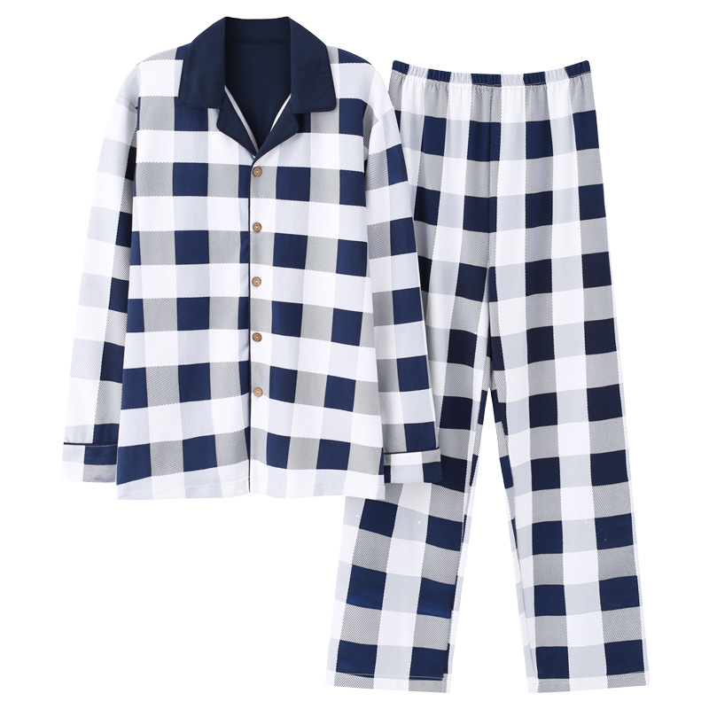 New 100% Cotton Men's Autumn&winter Long-sleeved Trousers Pajamas Suit White Plaid Flannel Sleepwear Velvet Soft Clothing Set