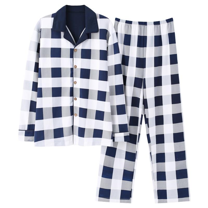 New 100% Cotton Men's Autumn&winter Long-sleeved Trousers Pajamas Suit White Plaid Flannel Sleepwear Velvet Soft Clothing Set