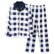 Новый 100% хлопок мужской осень и зима с длинными рукавами брюки пижамы костюм белый плед фланелевой пижамы бархат мягкий комплект одежды