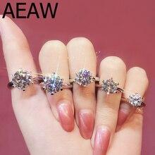 Натуральный 3ct муассанит драгоценный камень Классический Простой 6 когти кольцо для девочки 925 пробы серебро ювелирные изделия свадьбы