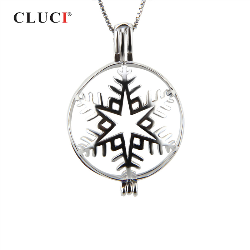 CLUCI Snowflake Shaped 925 Sterling Silver Christmas Charms Pendant For Women 925 Silver Cage Pendant Pearl Locket Jewelry