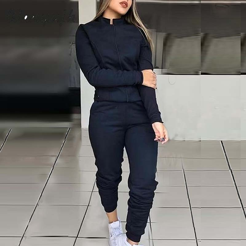 WENYUJH Female Fashion Solid Color Suit Women Sports Tracksuit 2 Piece Set Long Sleeve Jacket And Elastic Waist Pants Suits