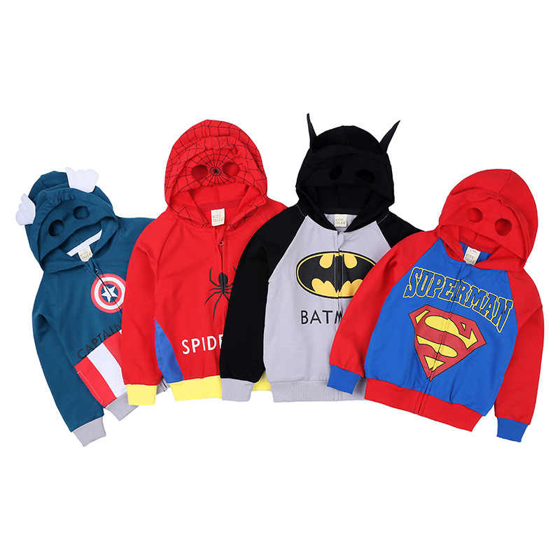 Cartoon kids jongen jas lange mouw capuchon rits Kinderen Batman Spiderman Captain superman Cosplay Kleding baby top kleding