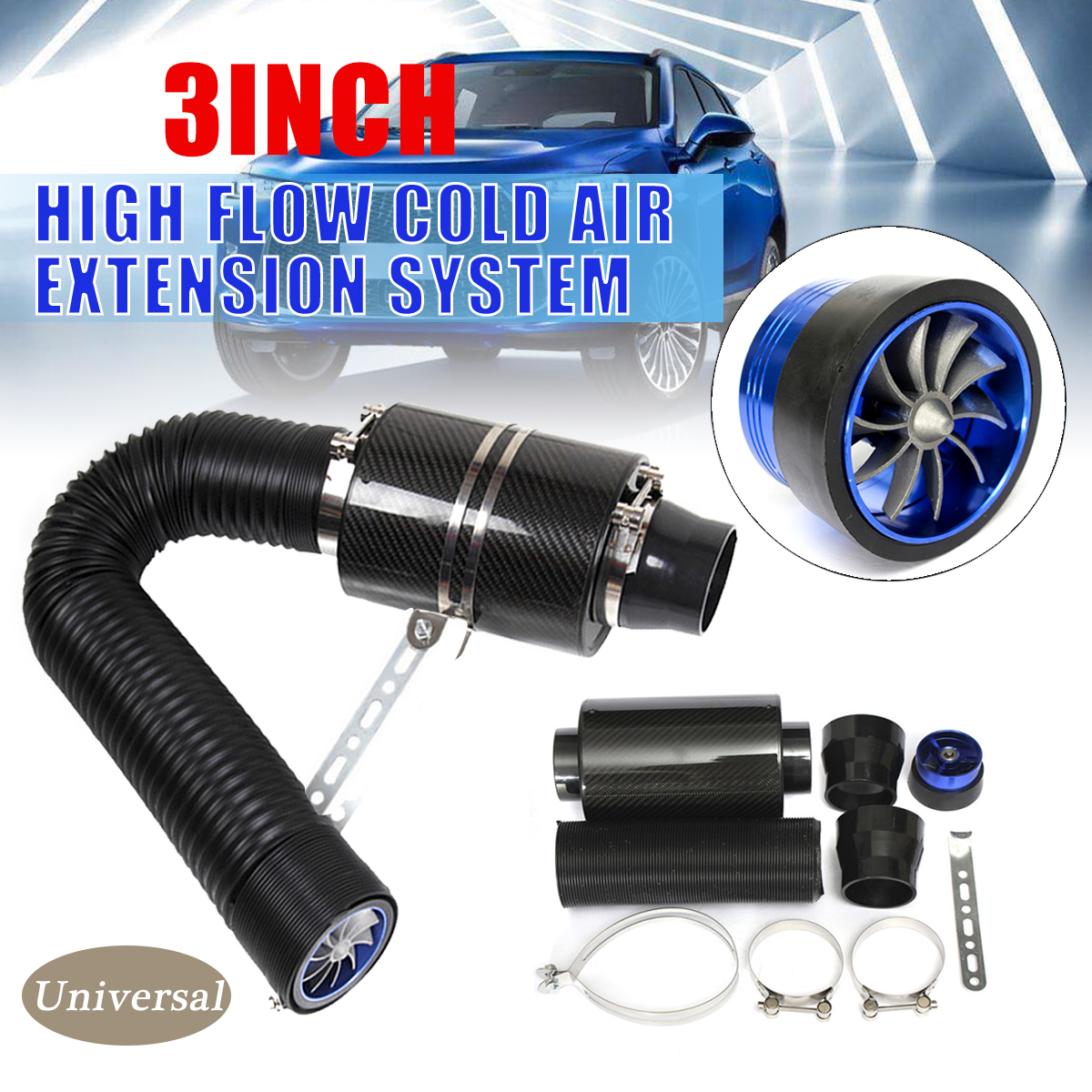 """3"""" Universal Car Cold Air Intake System With Fan Racing Carbon Fiber Cold Feed Induction Air Intake Filter Kit Ram Filter Box"""