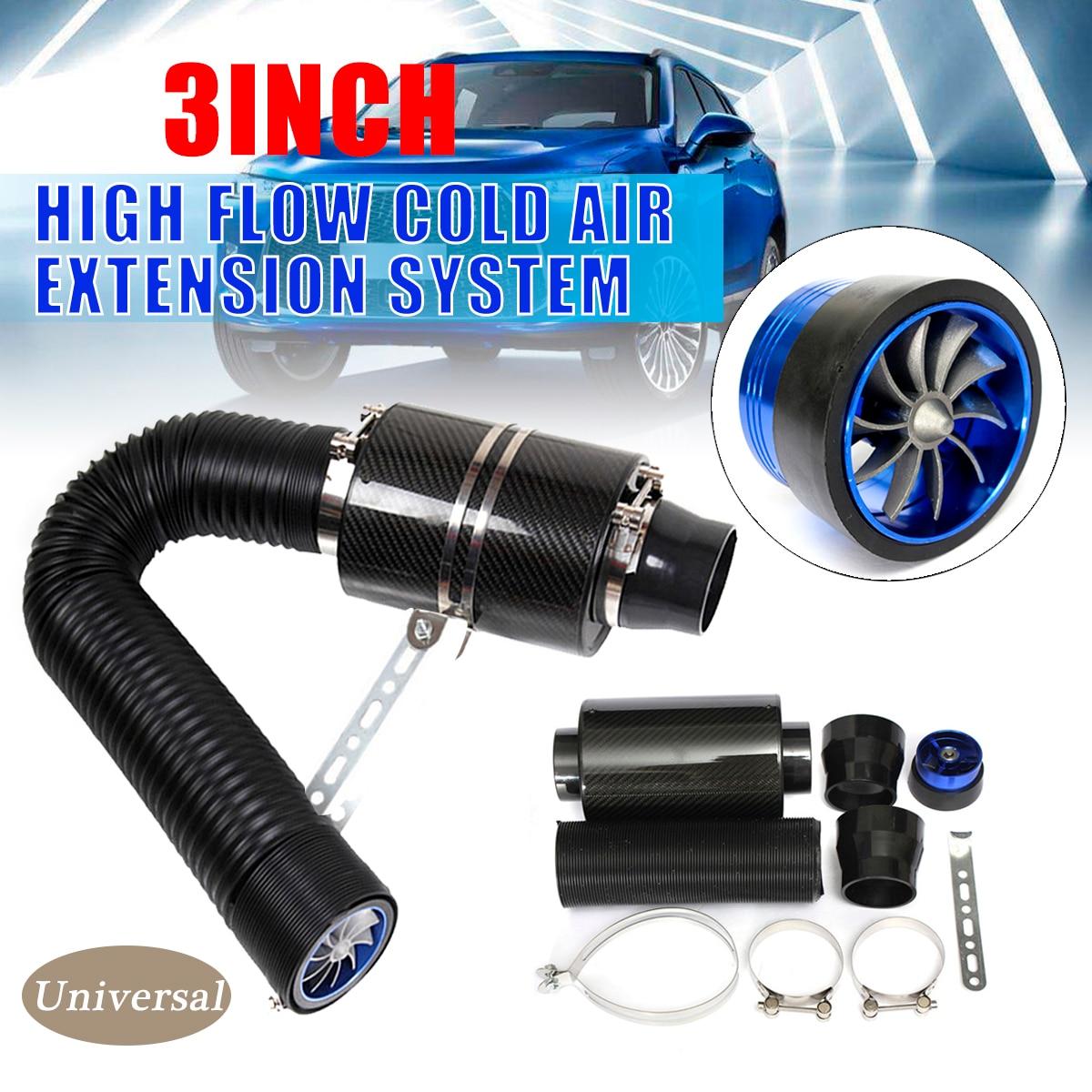 3 universal universal carro sistema de entrada de ar frio com ventilador de corrida de fibra de carbono alimentação fria indução kit filtro de entrada de ar ram caixa de filtro