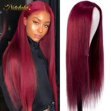 Nadula, бордовые человеческие волосы, T часть парика, 4x4, искусственная кожа головы, прямые волосы, парик, бразильские волосы, бордовые кружевные...
