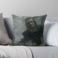 Hey você está finalmente acordado skyrim meme macio decorativo lance travesseiro capa para almofadas de casa não incluído