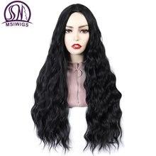 Msiwigs длинные черные вьющиеся парики для женщин афроамериканский