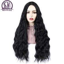 Msiwigs preto longo encaracolado perucas para as mulheres afro americano africano parte do meio sintético resistente ao calor peruca cosplay cabelo falso