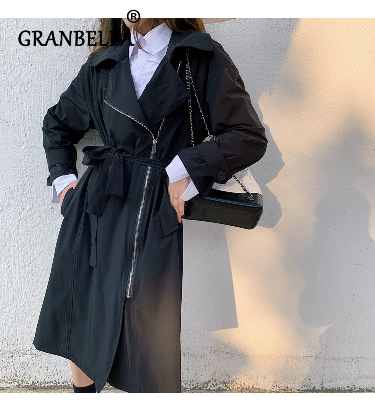 New Arrivel High Quality Loose Long Zipper Design   Trench   Coat Women Temperament Casual Solid Color Soft Chic Windbreaker