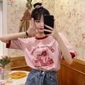 Женская свободная футболка с коротким рукавом, розовая Молодежная Универсальная футболка в Корейском стиле для студентов, Новинка лета 2021