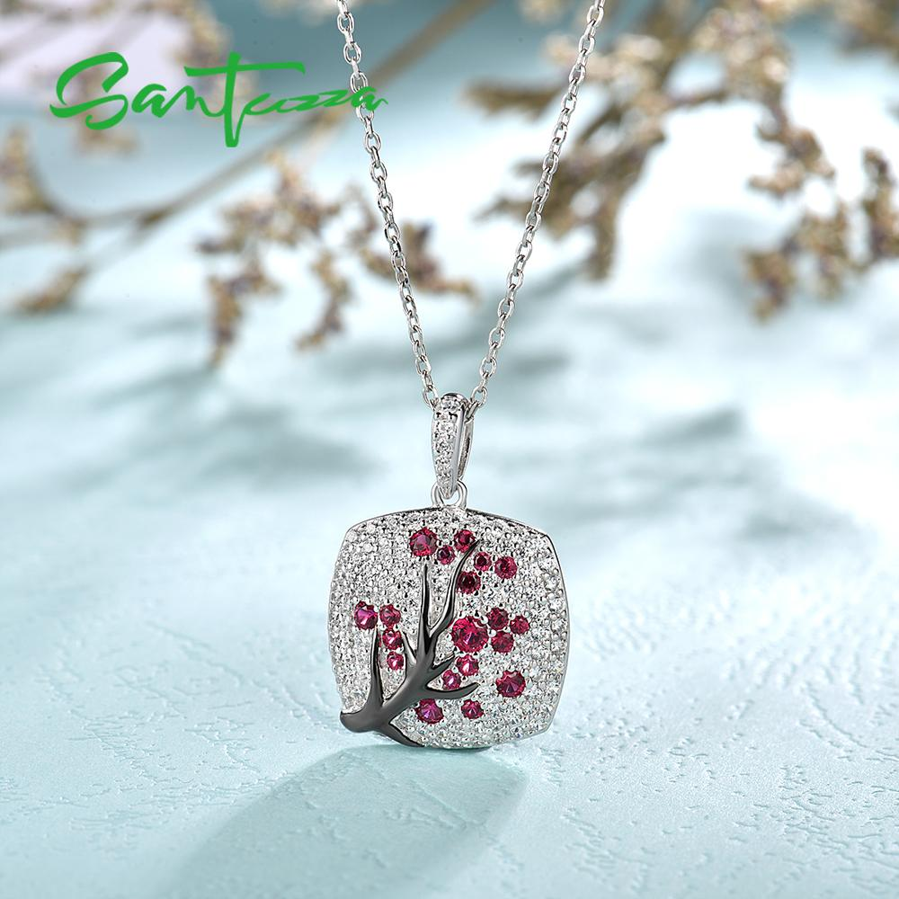 Image 4 - SANTUZZA Silver Pendant For Women 925 Sterling Silver Sparkling Pink Cherry Tree CZ Delicate Fashion подвеска кулон Fine Jewelry-in Pendants from Jewelry & Accessories