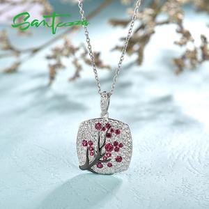 Image 4 - SANTUZZA Silver Pendant For Women 925 Sterling Silver Sparkling Pink Cherry Tree CZ Delicate Fashion подвеска кулон Fine Jewelry