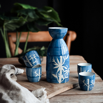 Bamboo leaf wine set white yellow wine separator bottle Japanese sake ceramic pot cup wooden tray wineware gift box