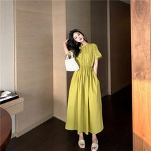 цена на Summer Women Casual Solid Midi Dress Korean Short Sleeve Hollow Out Dress O-Neck Bow-Knot Lace Up Loose Dress