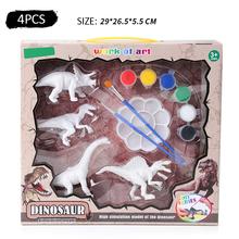 4 sztuk DIY kolorowanki do malowania zwierząt Model dinozaura rysunek Graffiti dzieci zestaw zabawek dla dzieci tanie tanio Z tworzywa sztucznego YW1746 Unisex 3 lat Deski Kreślarskiej 4 pcs set DIY Coloring Painting Animal Dinosaur Model Dinosaur Model Drawing Graffiti
