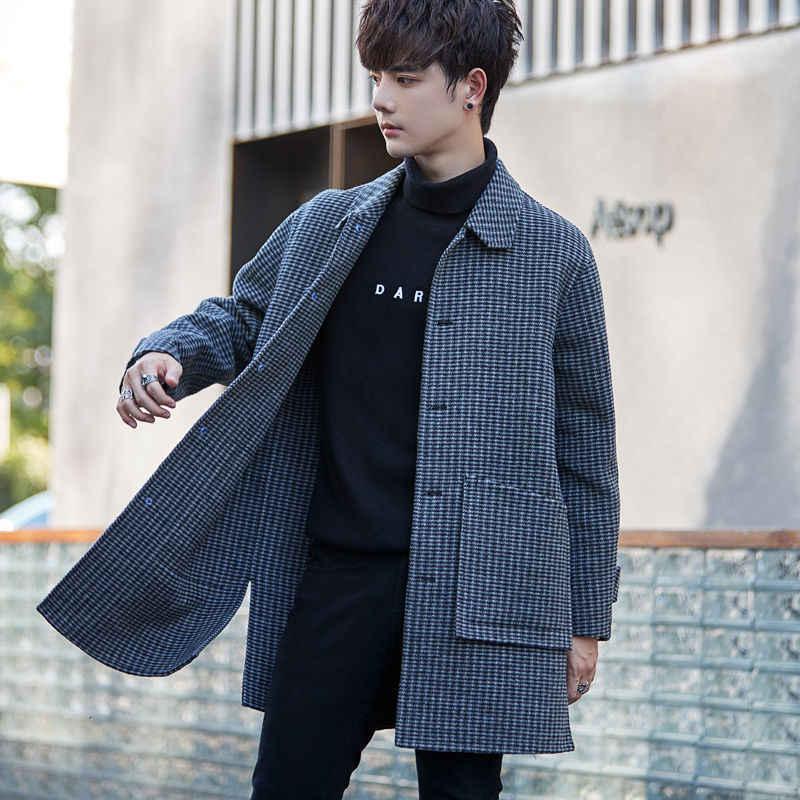 Модное женское пальто 2020, зимнее мужское двухстороннее шерстяное пальто в клетку в Корейском стиле, молодежная ветровка для мужчин