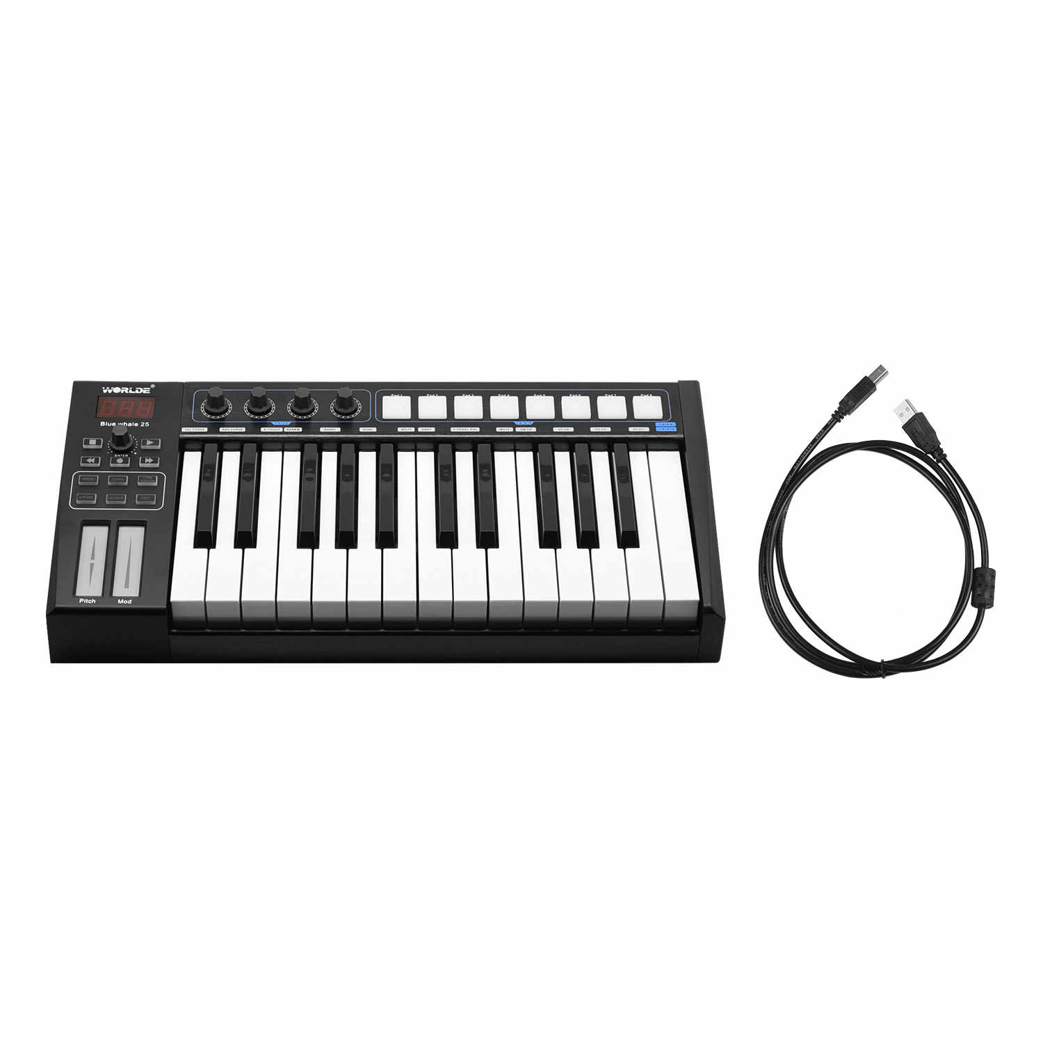 WORLDE Blue whale 25 Portable USB MIDI Controller Keyboard 25 Semi-weighted Keys 8 RGB Backlit Trigger Pads LED Display with USB Cable